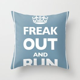 Keep Calm and Carry On Parody Blue Throw Pillow