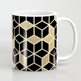 Black And Gold Gradient Cubes Shower Curtain Coffee Mug