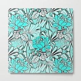 Trendy modern teal watercolor water lilies floral Metal Print