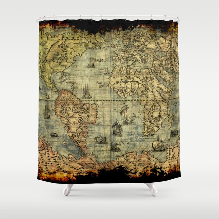 Vintage Old World Map Shower Curtain By Onlinegifts