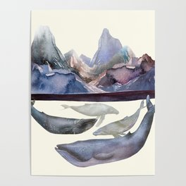 Whales Swiming under the Moutains Poster