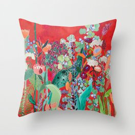 Floral Jungle on Red with Proteas, Eucalyptus and Birds of Paradise Throw Pillow