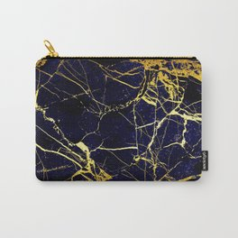 BlueBlack-Gold Marble Galaxy Impress Carry-All Pouch