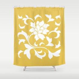 Oriental Flower - Mustard Yellow Shower Curtain