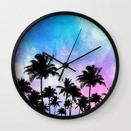 Galaxy and coconut trees Wall Clock