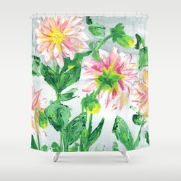 Dahlias on a cloudy day Shower Curtain