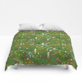 Naked Gardening Day Comforters