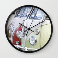 volkswagen Wall Clocks featuring Old Volkswagen Splitty Buses by Premium