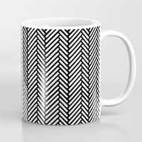 herringbone Mugs featuring Herringbone Black by Project M