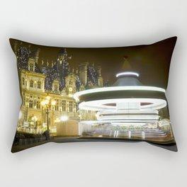 Caroussel de l'Hôtel de Ville la nuit // Hôtel de Ville carousel by night  Rectangular Pillow