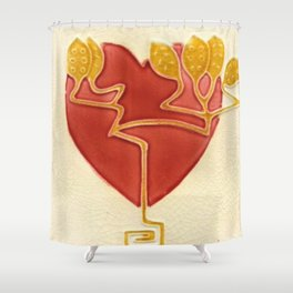 Art Nouveau Heart Shower Curtain