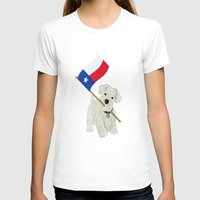 westie T-shirts featuring Original Paper Cutting of Westie With Texas Flag by Carrie McFerron
