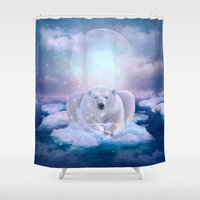 mandie manzano Shower Curtains featuring Power Is No Blessing In Itself (Be COOL - Protect the Planet)  by soaring anchor designs