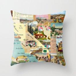 Vintage California Collage Throw Pillow
