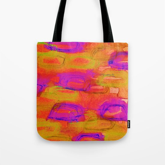 NOT YET, NIGHT - Bright Bold Colorful Abstract Watercolor Mixed Media Painting Warm Dusk Tones Tote Bag