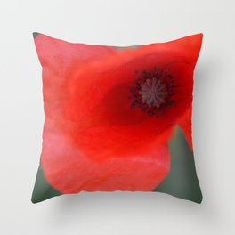 top poppy so red! Throw Pillow