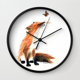 Monarch Fox - animal watercolor painting Wall Clock