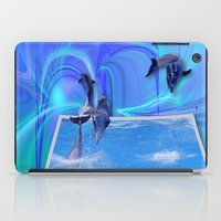 dolphins iPad Cases featuring Leaping Dolphins by Roger Wedegis