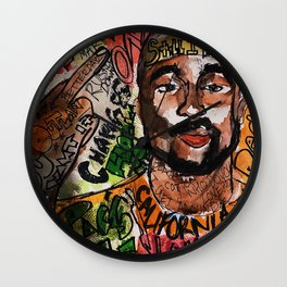 thug,rapper,rap,hiphop,music,rip,fan art,graffiti,street art,poster,colorful,lyrics,music,wall art Wall Clock