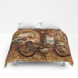 Nostalgic garage with tractor and motorcycle Comforters