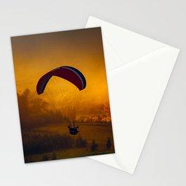 Paraglider Flying Around Orange Clouds Stationery Cards