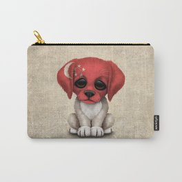 Cute Puppy Dog with flag of Singapore Carry-All Pouch