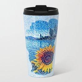 Tahoe Sunflower Metal Travel Mug