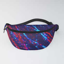 Red Blue Purple Stars Neon Glitter Confetti Colorful Pattern Fourth of July Presidents Day Fractal Fanny Pack