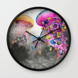 Electric Jellyfish in a Misty Mountain Wall Clock