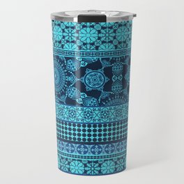 Ornate Moroccan in Blue Travel Mug