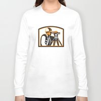 engineer Long Sleeve T-shirts featuring Surveyor Geodetic Engineer Survey Theodolite by patrimonio