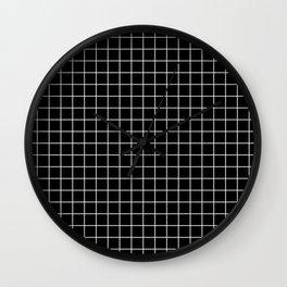 Black and White Geometric Grid Print Wall Clock