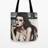 angelina jolie Tote Bags featuring Angelina Jolie by vooce & kat