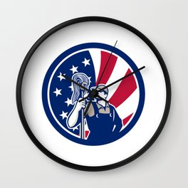American Industrial Cleaner USA Flag Icon Wall Clock