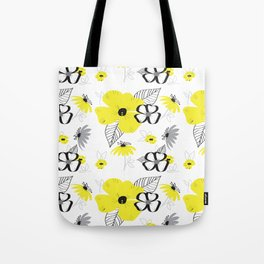 Yellow and Black Drawn Flowers Tote Bag