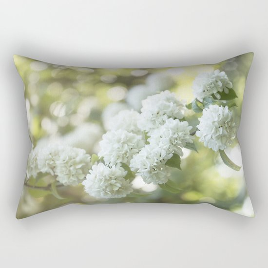 White Hydrangea at beautiful backlight- Flowers Floral Rectangular Pillow