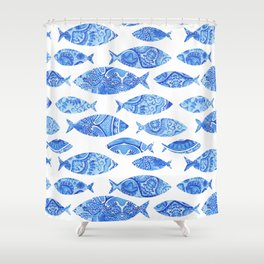 Folk watercolor fish pattern Shower Curtain