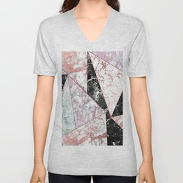 Geometrical rose gold black pink marble triangles Unisex V-Neck