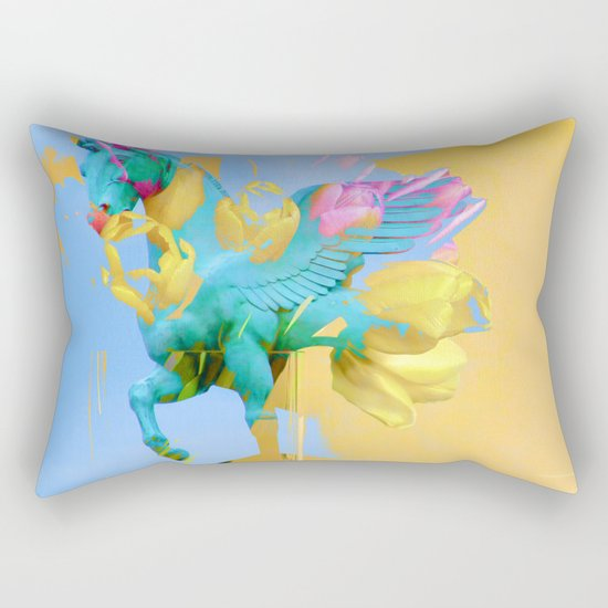 The Fly of Angelic Flowers - Digital Mixed Fine Art Rectangular Pillow