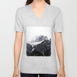Moody snow capped Mountain Peaks - Nature Photography Unisex V-Neck