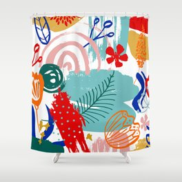 Spring Festival, Botanical, Floral Abstract Shower Curtain
