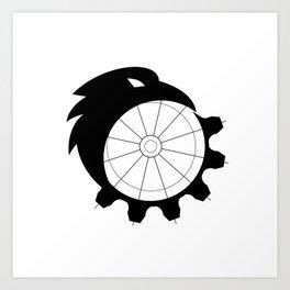 Raven Merging to Cog Icon Art Print