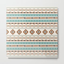 Aztec Teal Terracotta Black Cream Mixed Motifs Pattern Metal Print