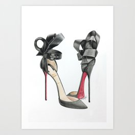 Red Sole Black Bow D'Orsay Pump Watercolor Art Print
