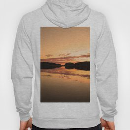 Beautiful sunset - glowing orange - forest silhouette and reflection Hoody