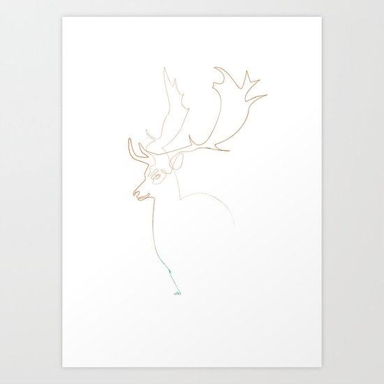 Deer Line Art Print