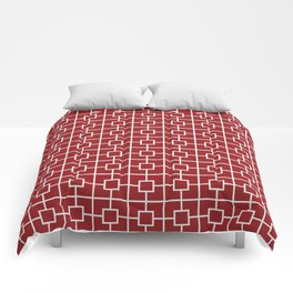 Carmine Red Square Chain Pattern Comforters