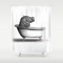 Hippo In Bath Shower Curtain