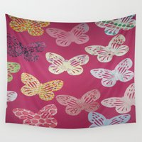 butterflies Wall Tapestries featuring Butterflies  by Sammycrafts