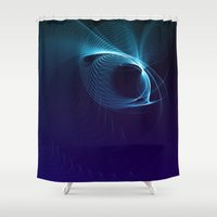 matrix Shower Curtains featuring Blue Matrix by zAcheR-fineT